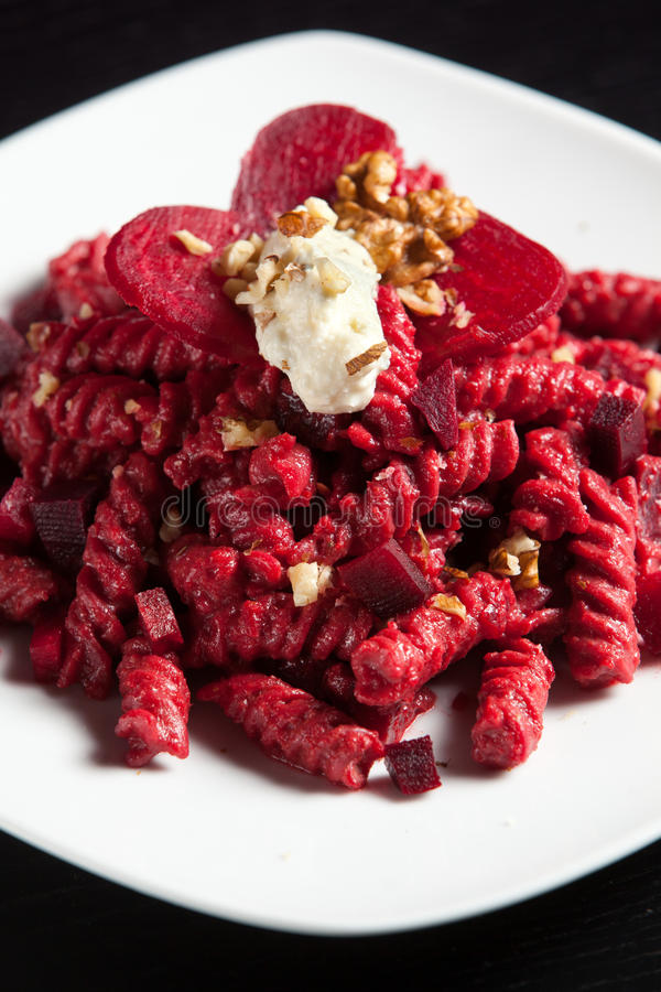 Pasta with Red Beets Cheese and Walnuts