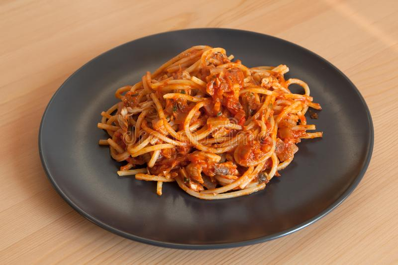 Pasta with red sauce and tuna fish. Shot of pasta with red sauce and tuna fish stock photography