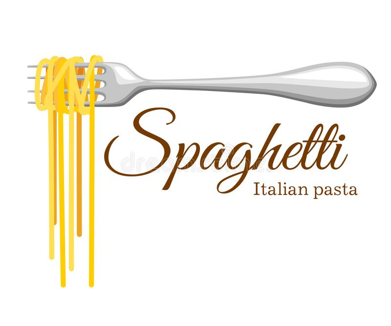 Pasta roll on the fork. Italian pasta with fork silhouette. Black fork with spaghetti on the yellow background. Hand holding a for stock illustration