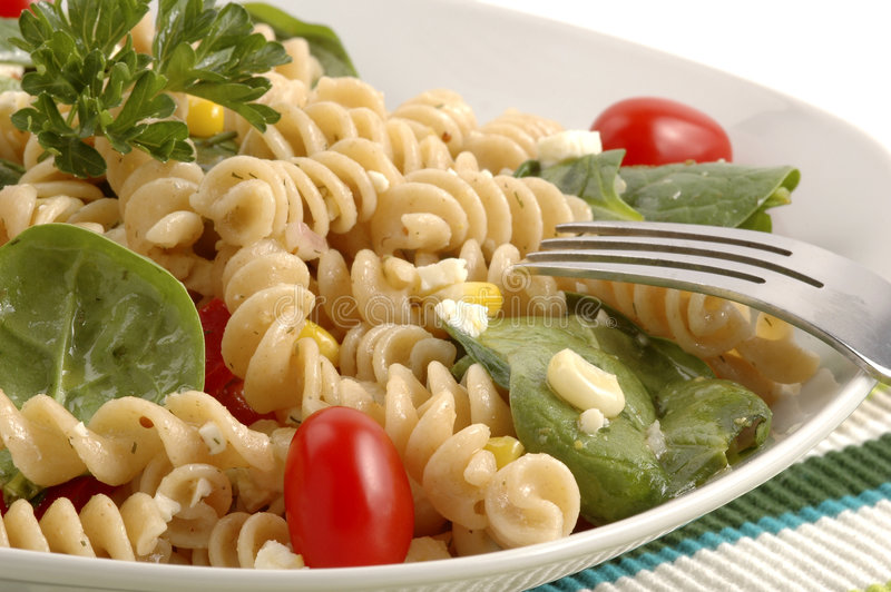 Pasta Salad. Made with a variety of fresh garden vegetables stock images