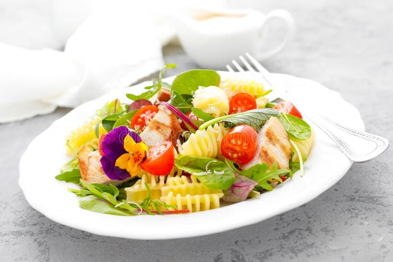 Pasta salad with grilled chicken meat, vegetables and cheese royalty free stock images