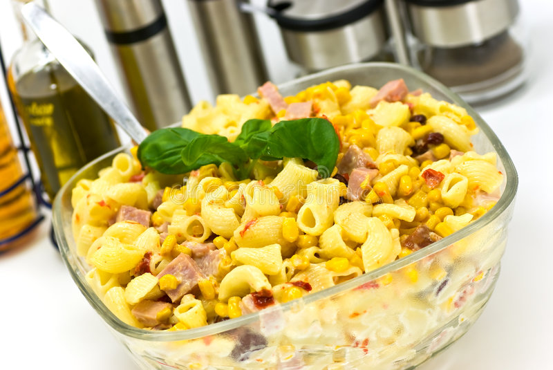 A Pasta Salad With Ham Royalty Free Stock Image
