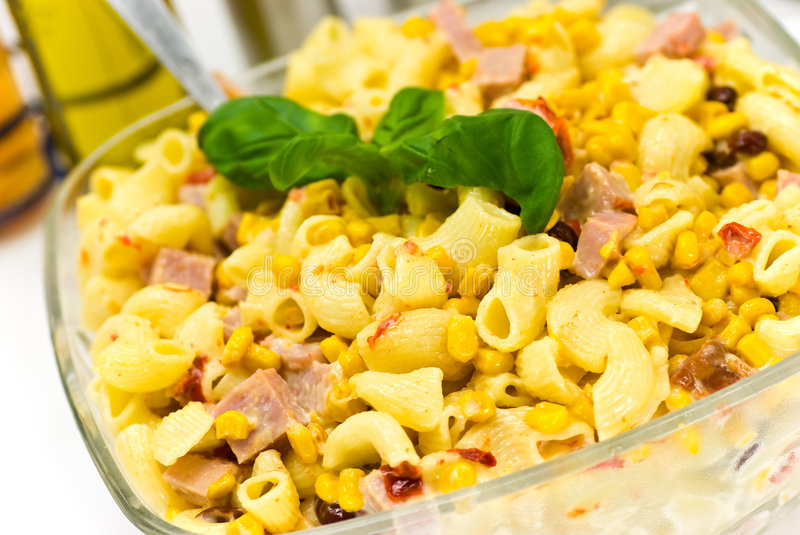 Download A pasta salad with ham stock photo. Image of pasta, yellow - 8541510
