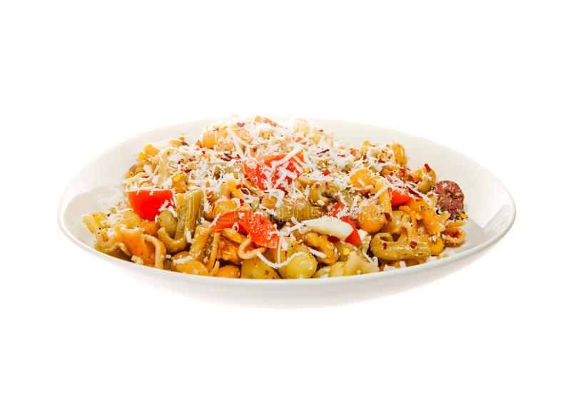 Pasta Salad. With Olive oil pesto sauce and spices stock photography