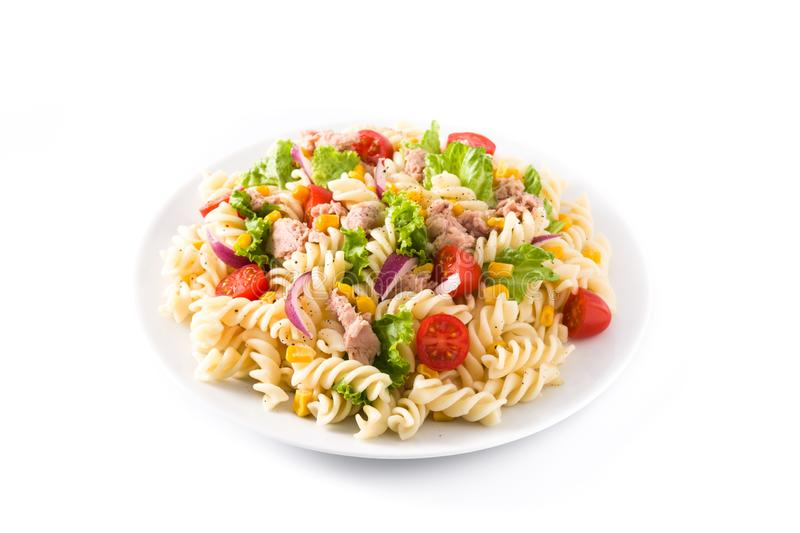 Pasta salad with vegetables isolated. Pasta salad with vegetables and tuna isolated on white background royalty free stock images