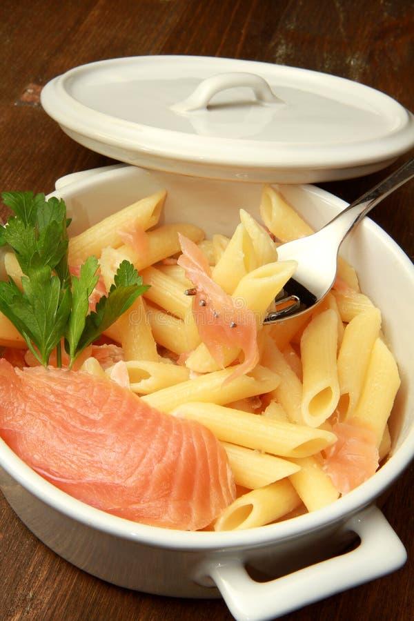 Pasta with salmon stock photo