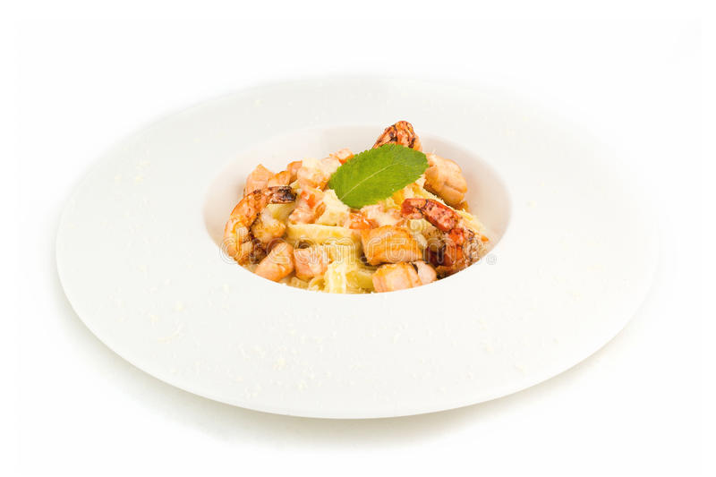 Pasta with salmon fish stock photography