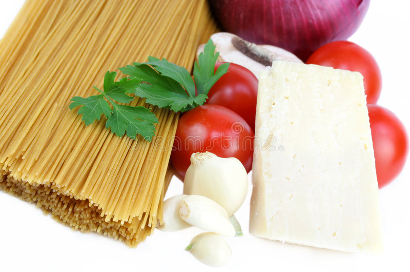 Pasta and Sauce Ingredients stock photo