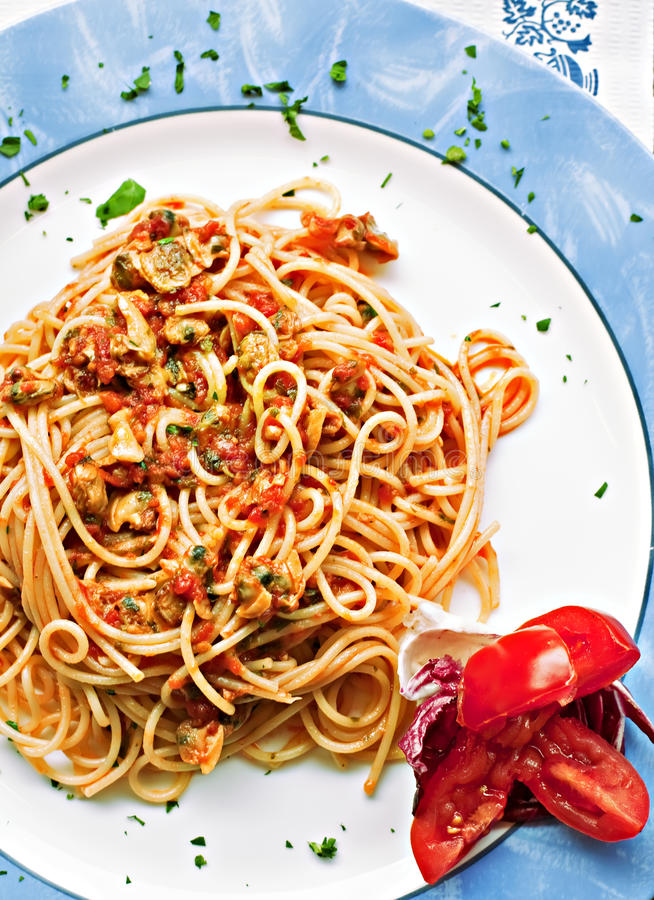 Pasta With Seafood Stock Photos