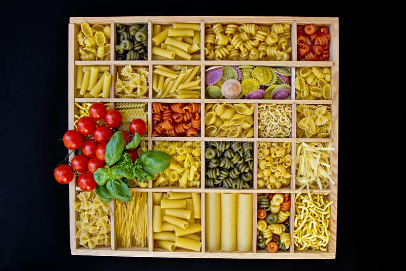 Pasta selections stock photos
