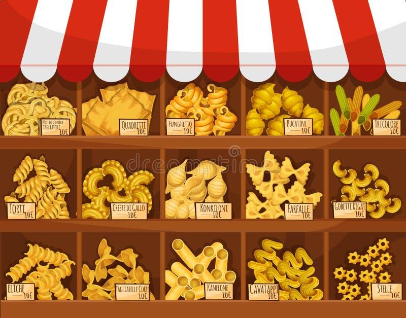 Pasta shoppar eller marknadsför stallen för vektorskärmställningen royaltyfri illustrationer