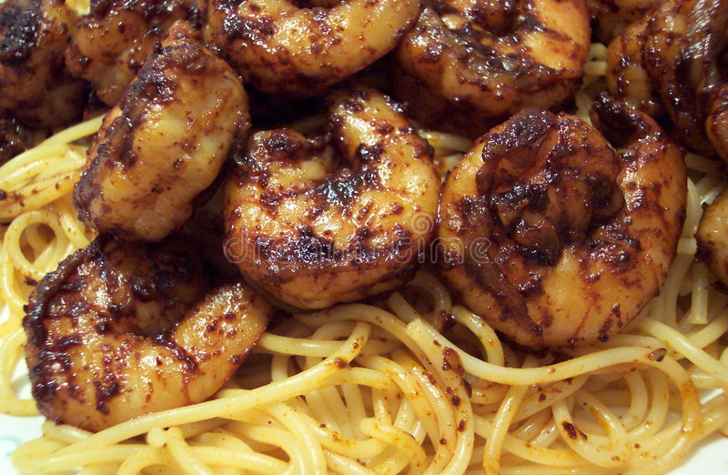 Pasta With Shrimp and Chili Sauce royalty free stock images