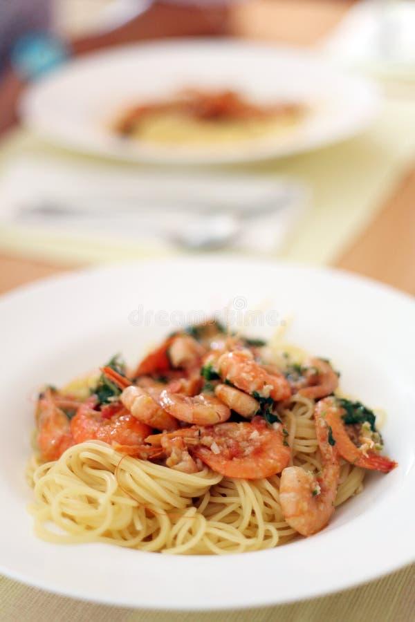Pasta with Shrimp royalty free stock photos