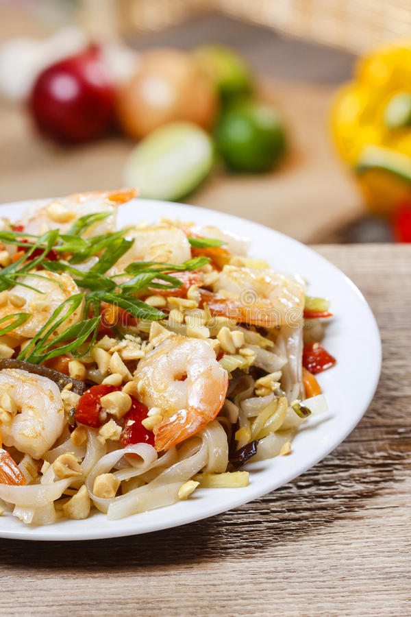 Pasta with shrimps and mushrooms. Healthy food mediterranean style royalty free stock images