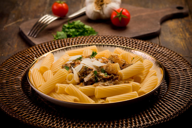 Pasta With Sicilian Pesto Stock Photos