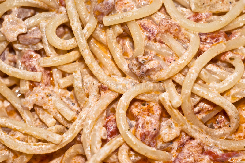 Pasta- Spaghetti With Cream And Bacon. Stock Photography