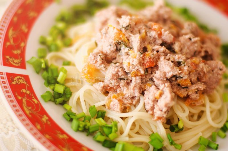 Pasta with stuffing stock images