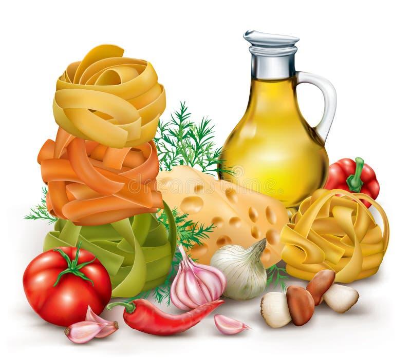 Pasta tagliatelle and vegetables stock illustration