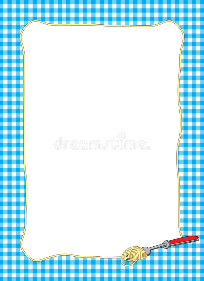 Pasta-themed Blue Frame. Illustrated border featuring fork and spaghetti noodle for food-themed designs vector illustration