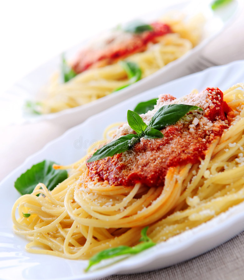 Pasta and tomato sauce stock image