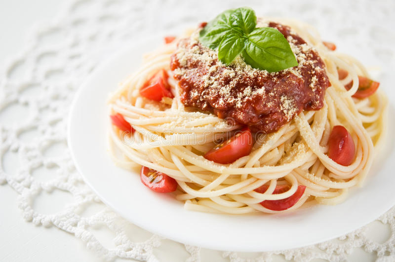 Download Pasta With Tomato Sauce And Cheese Stock Image - Image: 33281163