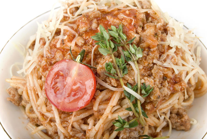 Pasta with tomato sauce and meat stock photography