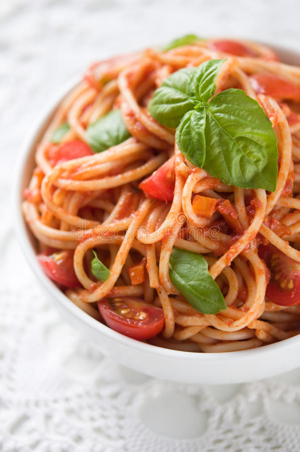 Pasta with tomato sauce and tomatoes