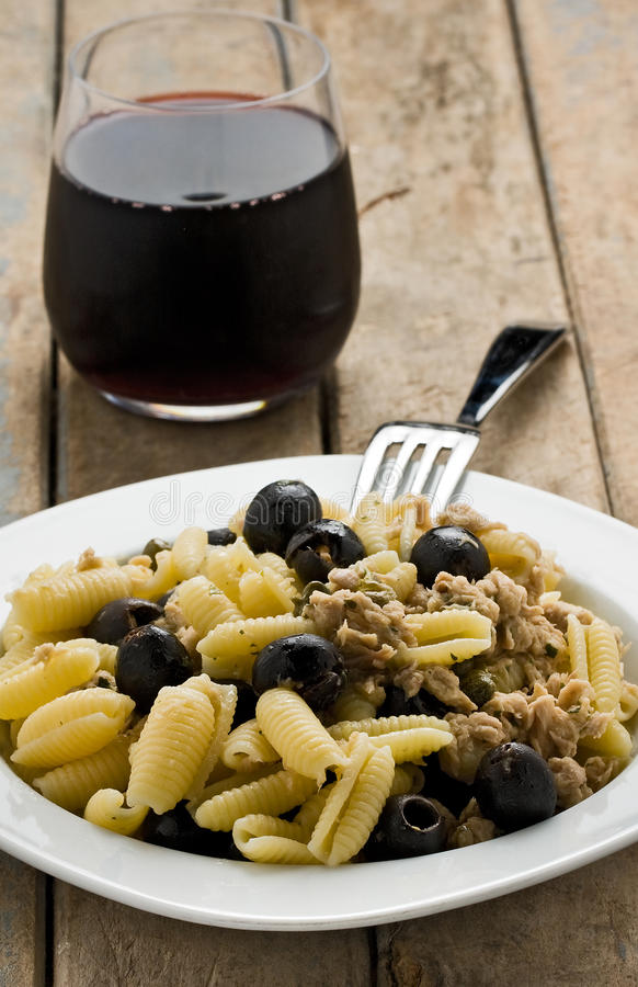 Pasta with Tuna and Black Olives stock photography