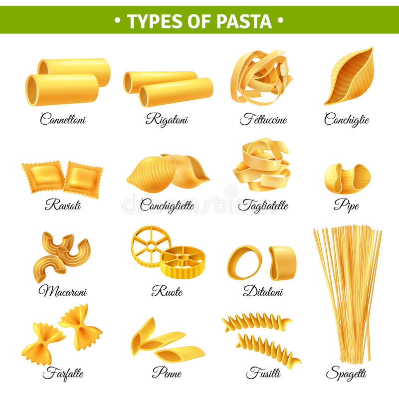 Pasta Types Infographics. Realistic infographics with types of italian pasta and their names isolated on white background vector illustration stock illustration