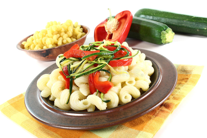Download Pasta with vegetables stock photo. Image of corkscrew - 20953544