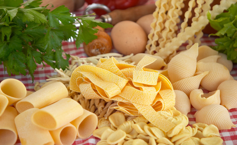 Pasta, vegetables, egg royalty free stock photography