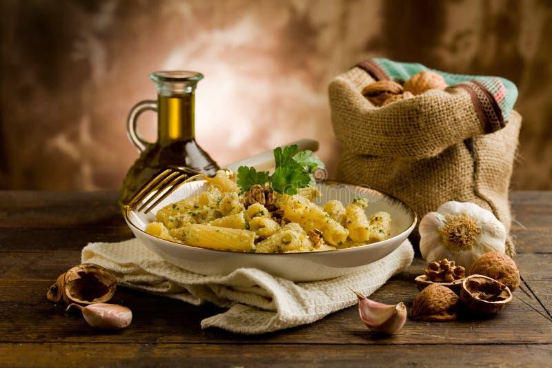 Pasta with Walnut pesto stock images