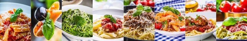 Pastacollage val av olik italiensk pastadisk - brunnsort royaltyfria foton