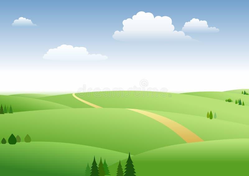 Pastagem e céu azul ilustração royalty free