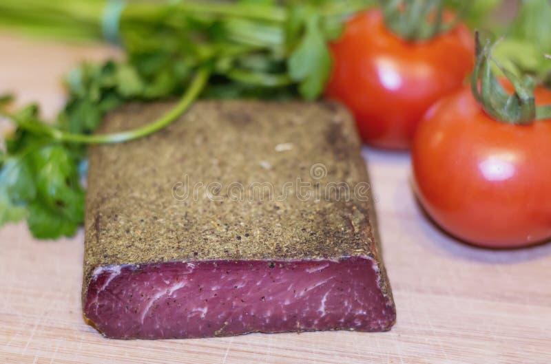 Pastarma tradicional de la carne de vaca secada del búlgaro foto de archivo libre de regalías