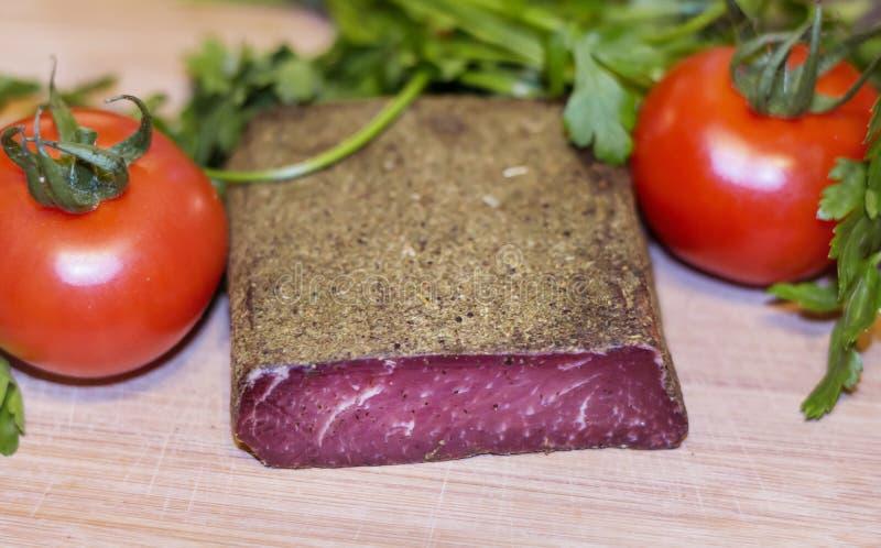 Pastarma tradicional de la carne de vaca secada del búlgaro fotos de archivo libres de regalías