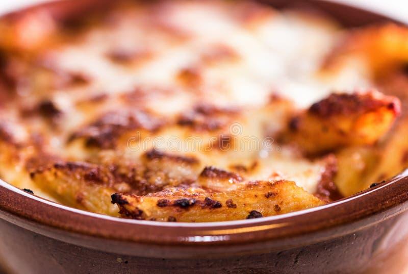 Pastas cocidas cacerola foto de archivo libre de regalías