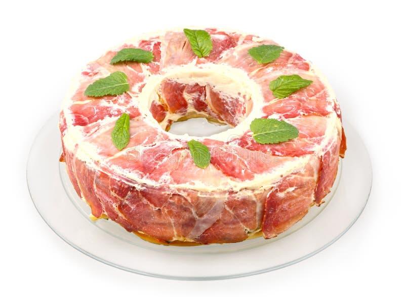 Pastas cocidas con el prosciutto imagen de archivo libre de regalías