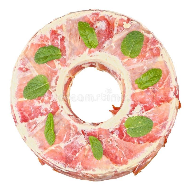 Pastas cocidas con el prosciutto foto de archivo libre de regalías