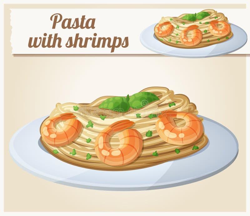 Pastas con los camarones Icono del vector de la historieta libre illustration