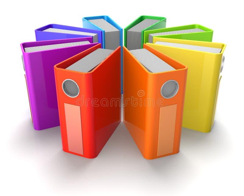 Pastas de anel coloridas ilustração do vetor