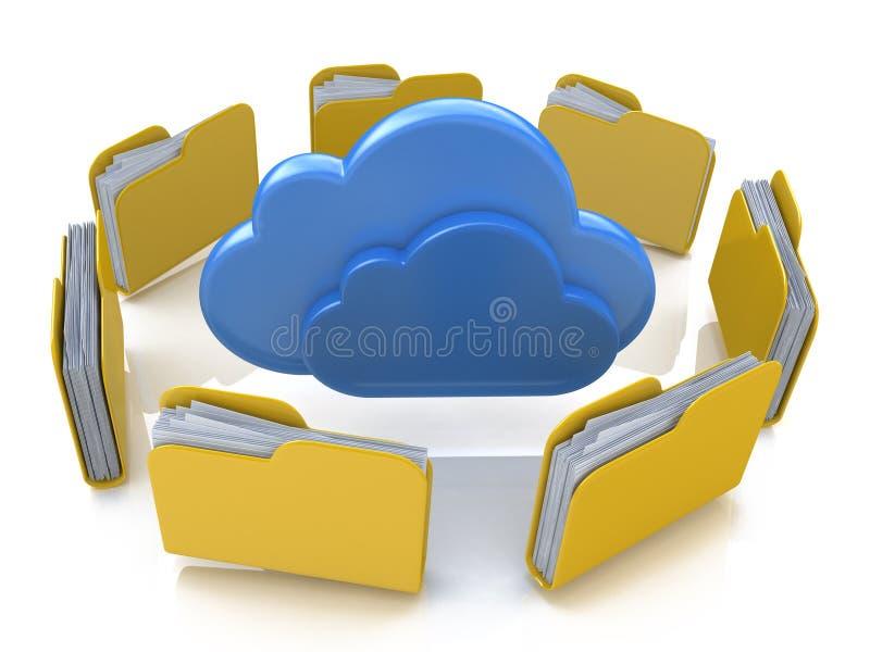 Pastas de arquivos em torno das nuvens ilustração do vetor