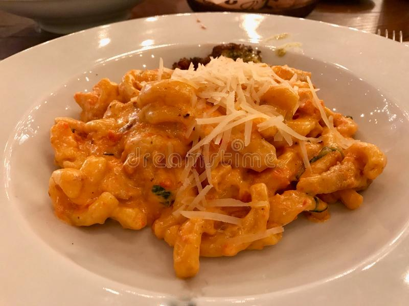 Pastas de Rosso del Pesto de Caserecce con los tomates, el queso parmesano, la crema y el pollo secados fotos de archivo