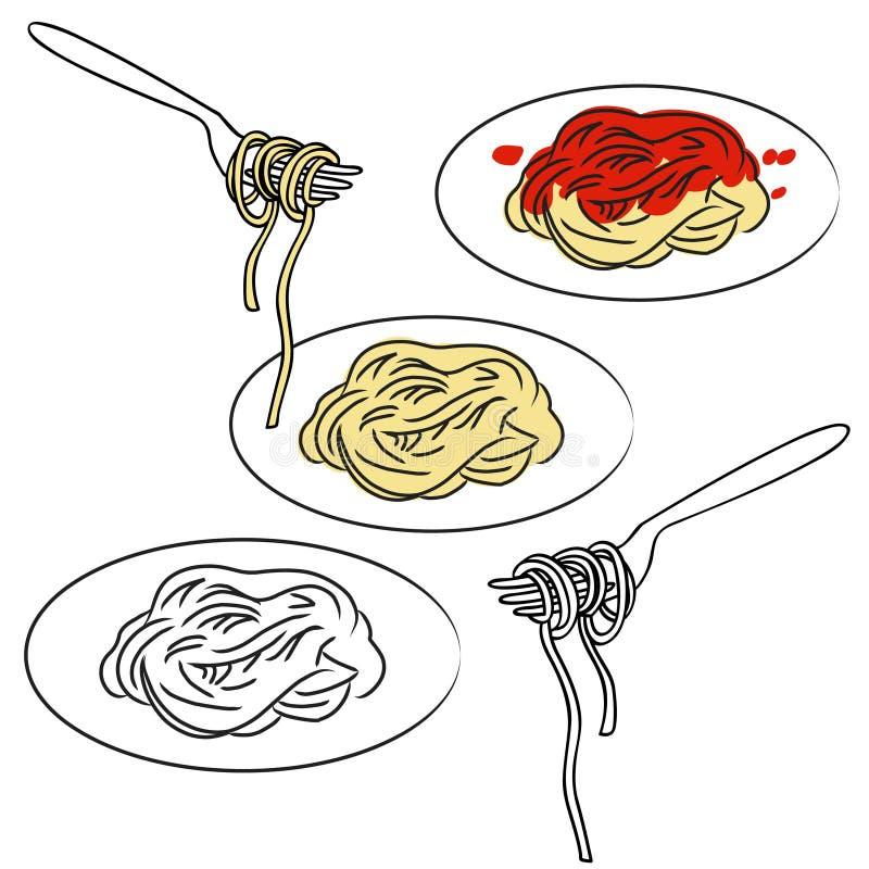 Pastas del espagueti ilustración del vector