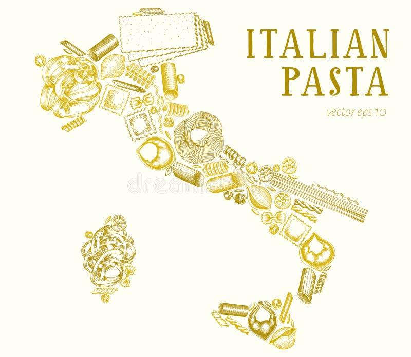 Pastas en la forma de Italia Ejemplo dibujado mano de la comida del vector Plantilla grabada del dise?o del estilo Diferentes tip stock de ilustración