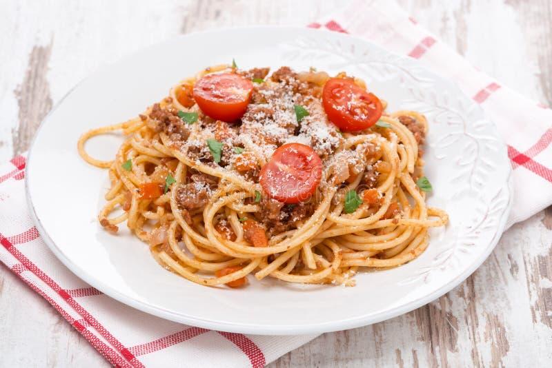 Pastas italianas - espagueti boloñés fotos de archivo libres de regalías
