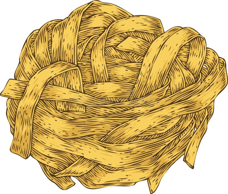Pastas italianas fettuccine ilustración del vector