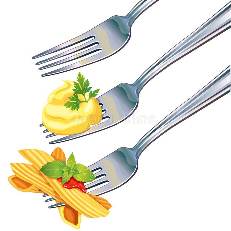 Pastas y patatas trituradas en fork libre illustration