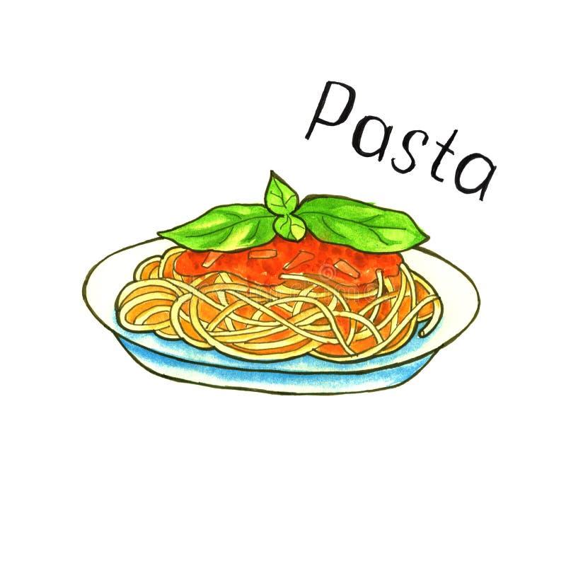 Paste. Italian Cuisine. isolated. watercolor. Paste. Italian Cuisine. sketch food isolated. watercolor stock illustration