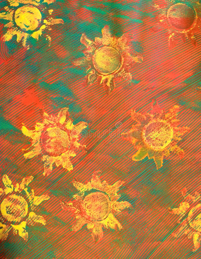 Paste-Papier: Gelbe Sonnen auf rotem und grünem Hintergrund lizenzfreie stockbilder